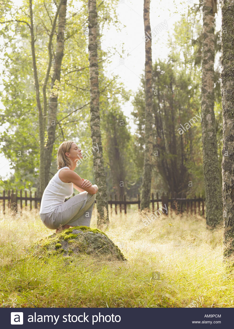Woman crouching on a large rock by a wooden fence. Stock Photo