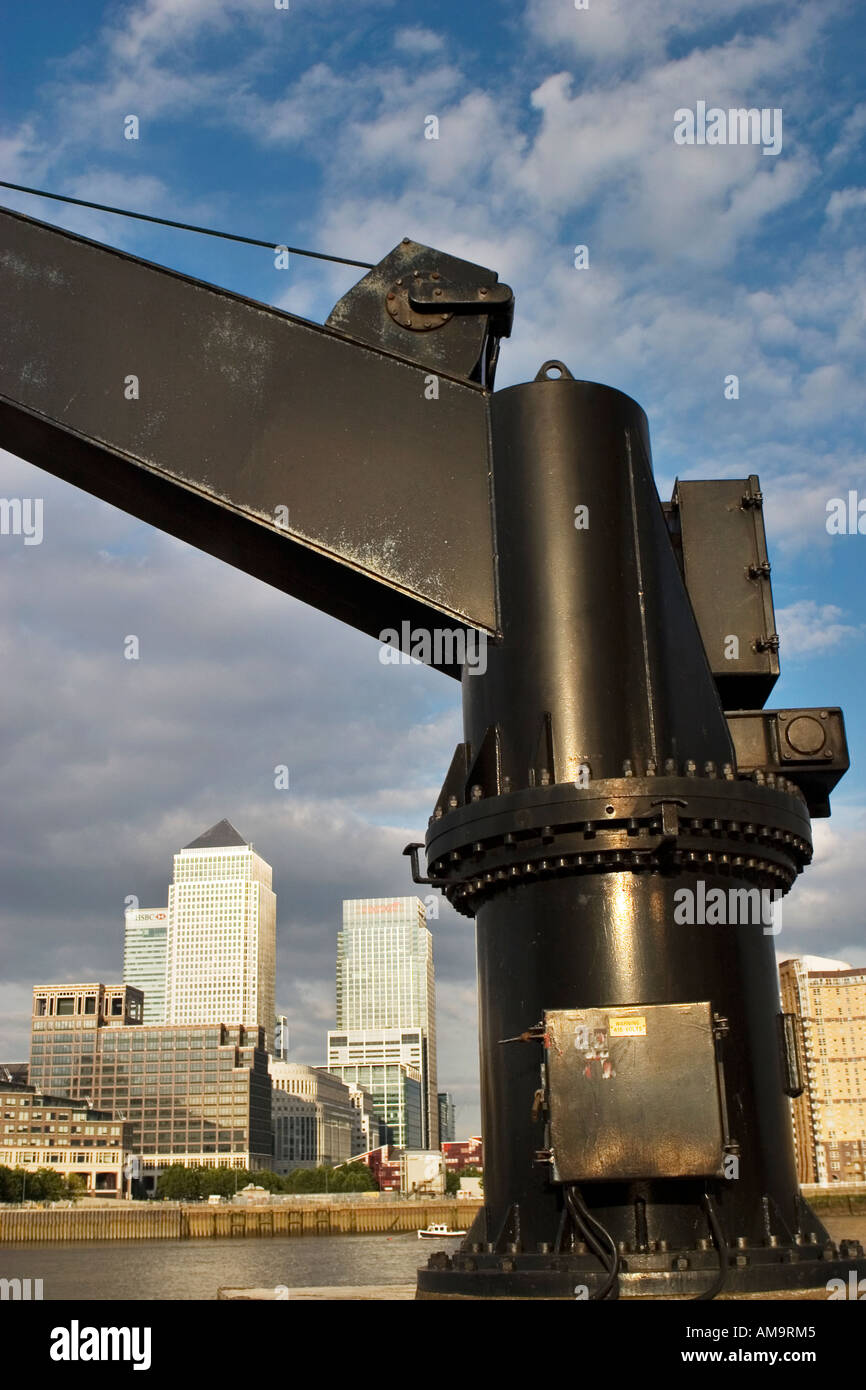 View through a winch towards Canary Wharf complex Docklands London - Stock Image