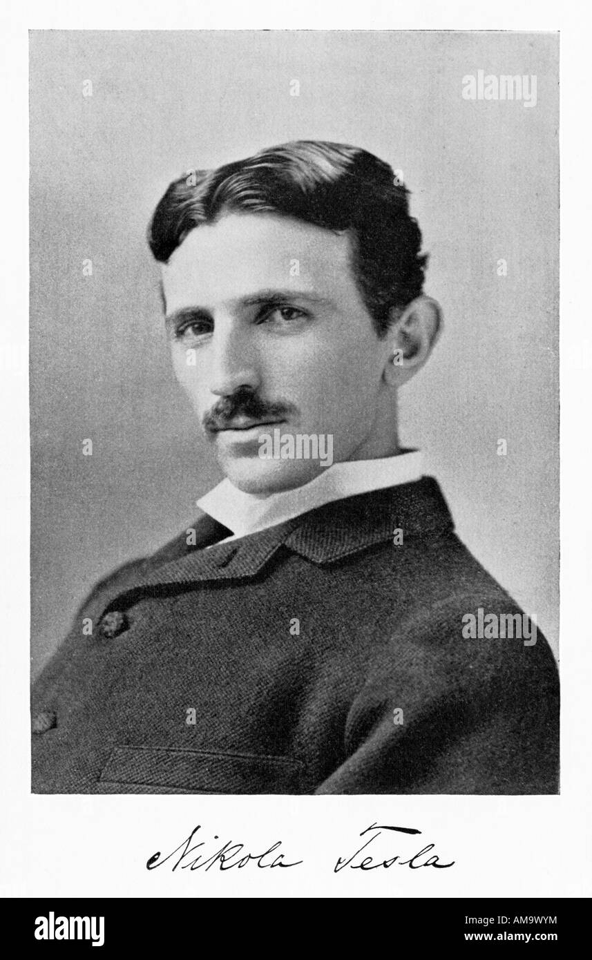 Nikola Tesla the Serbian scientist and inventor who made his name in America especially in the field of electricity - Stock Image
