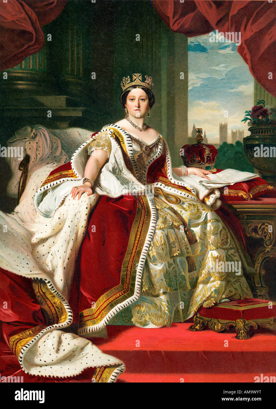 Queen Victoria Winterhalter 1859 portrait of Her Majesty dressed in the Coronation robes - Stock Image