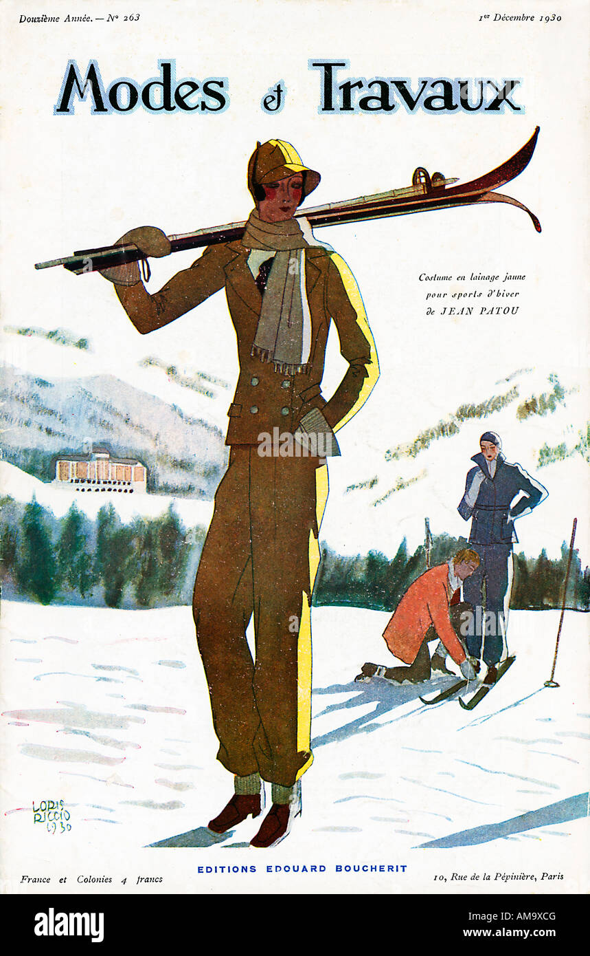 Modes Et Travaux Skiing cover by Loris Riccio of the 1930 French fashion magazine with chic on the piste - Stock Image