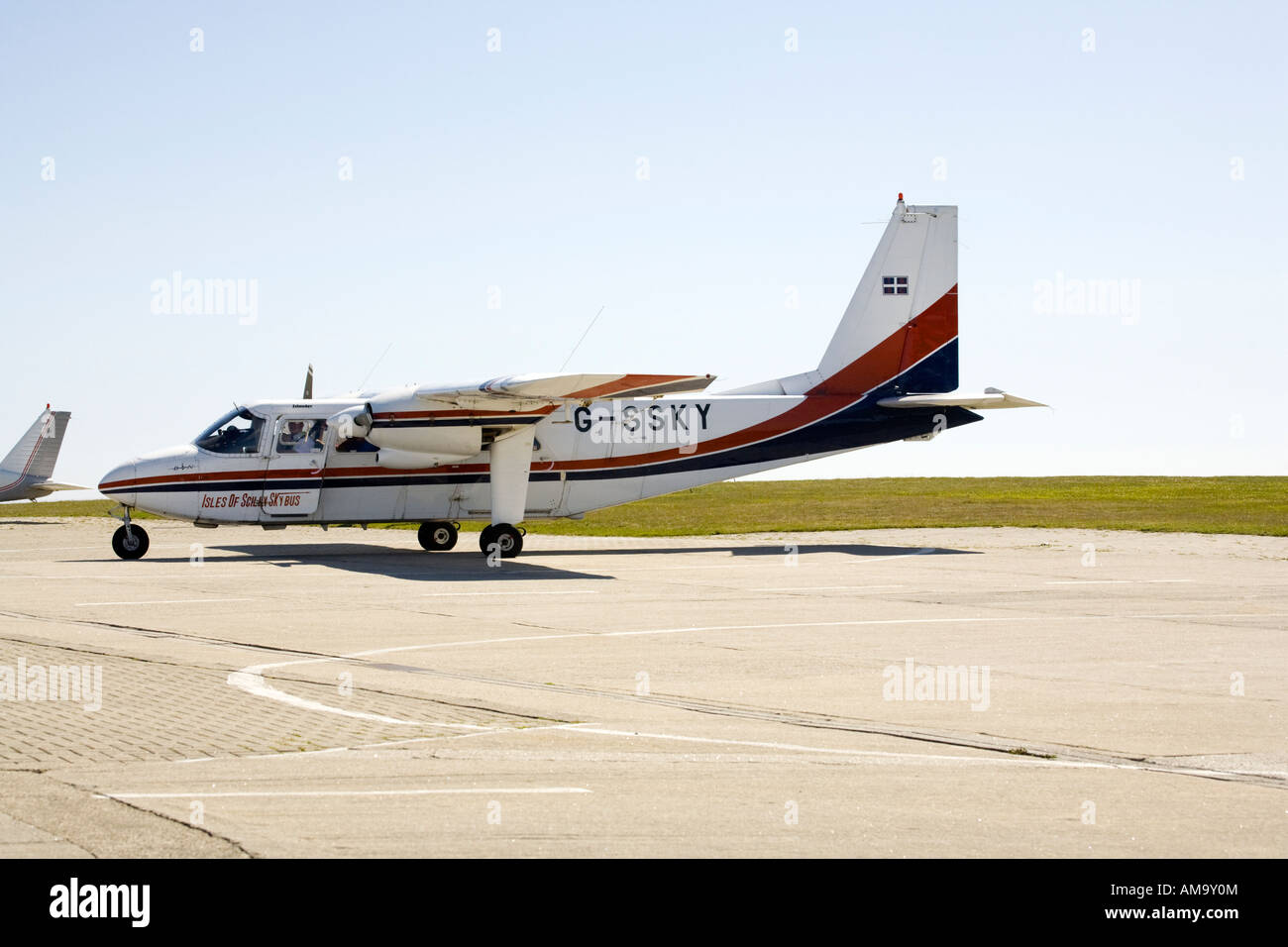 Britten Norman Islander BN2 Skybus at St.Mary's Isles of Scilly  airport - Stock Image