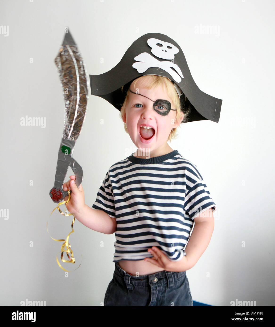 Boy Dressed As A Pirate - Stock Image