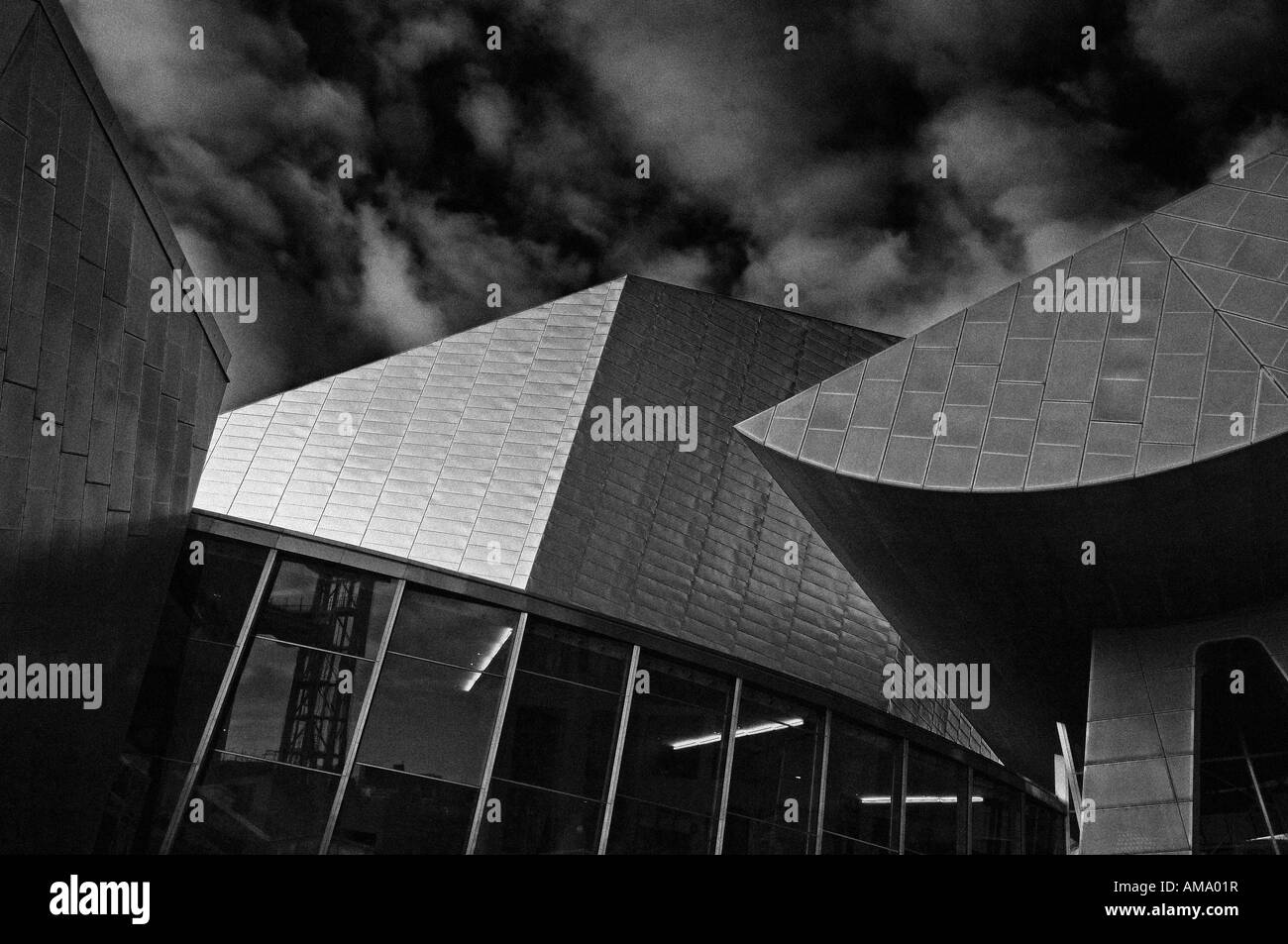 lowry centre sunny afternoon B&W salford quays manchester england uk europe - Stock Image