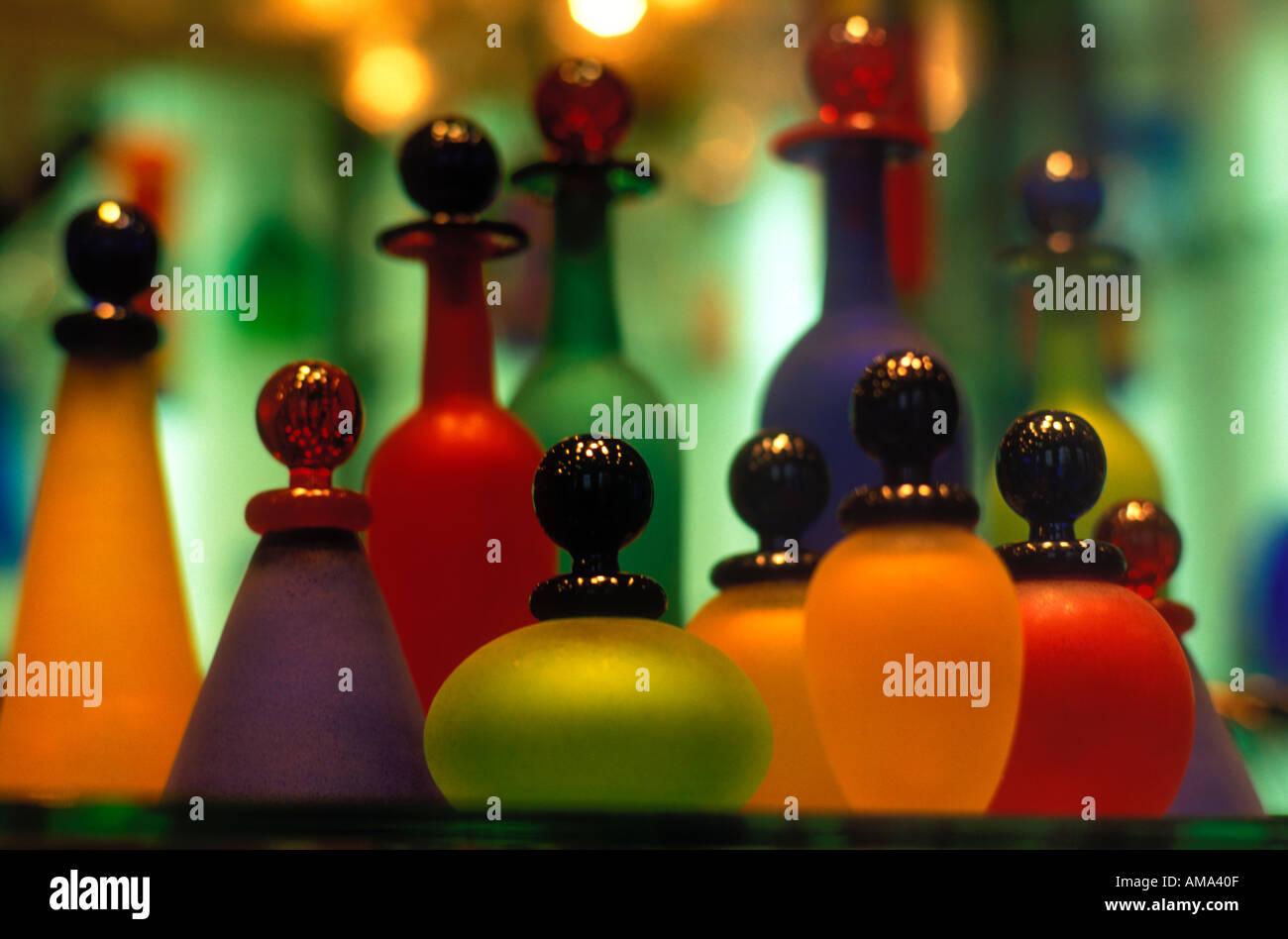 Italy Venice Venetian glass bottles in bright colors - Stock Image