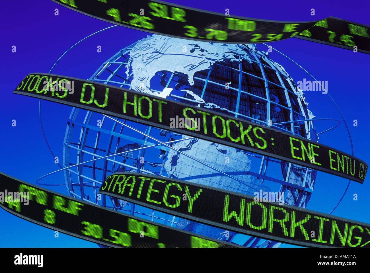 Stock market reader and globe of the world - Stock Image