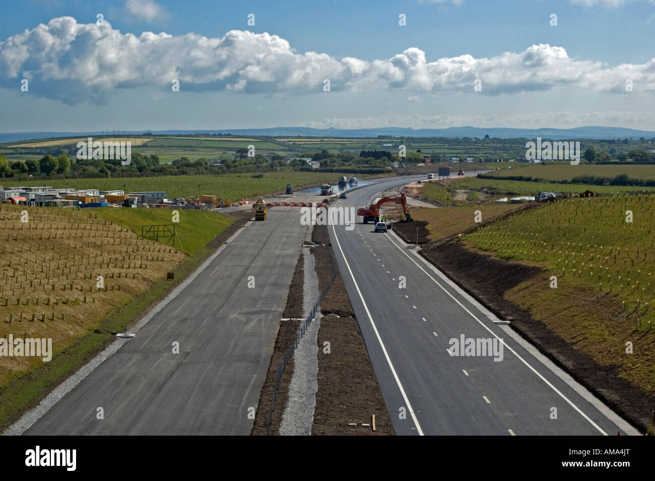 A30 dual carriageway under construction in cornwall,england - Stock Image