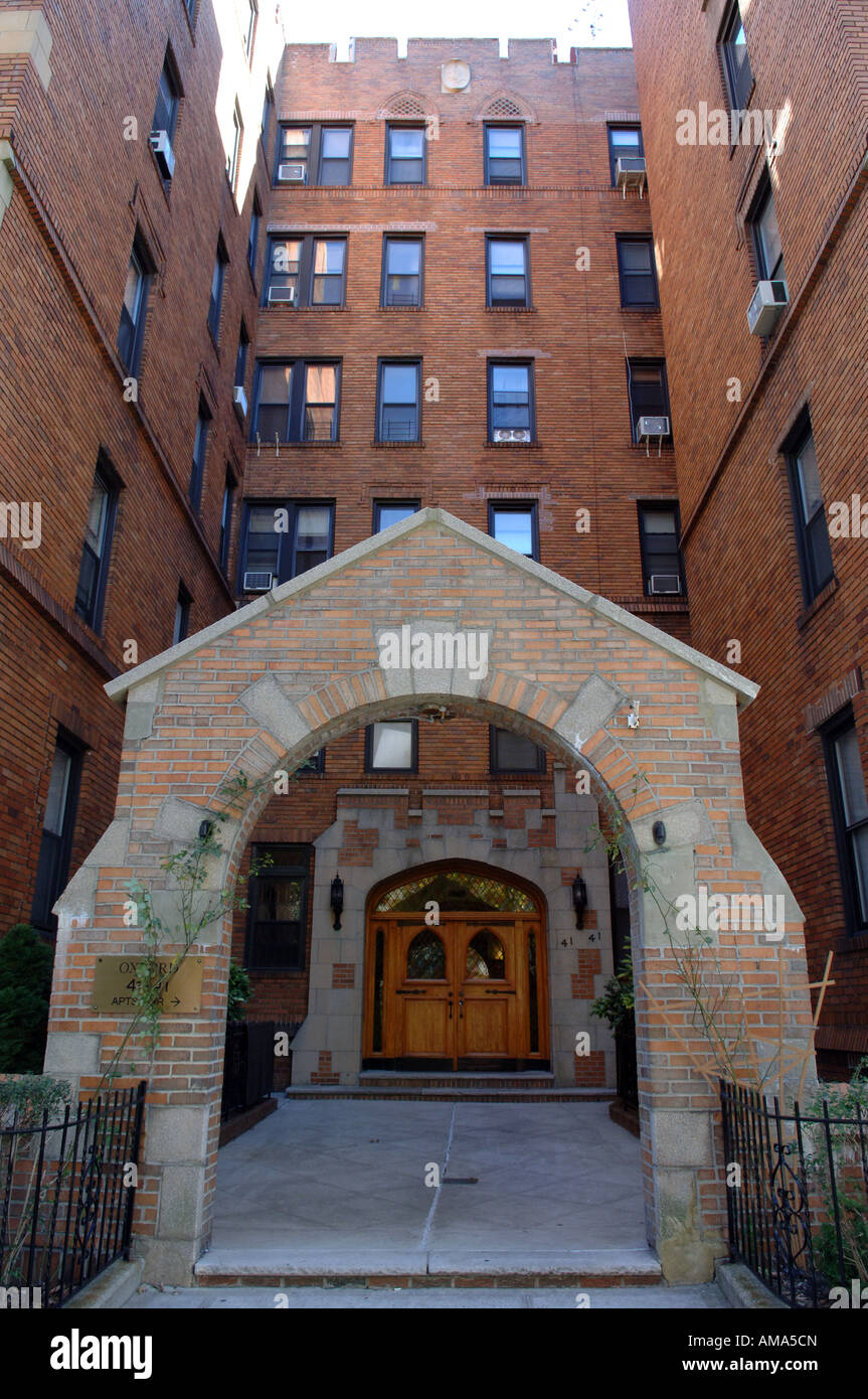 entrance to an apartment building in sunnyside queens in nyc stock