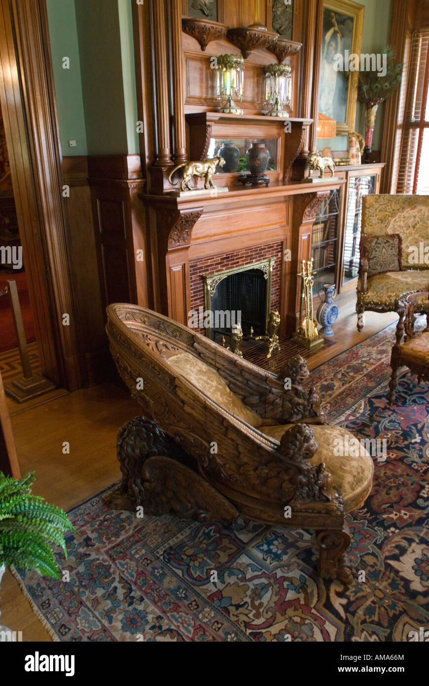 Ornate Carved Furniture On Display At Maymont, The Dooley Mansion In  Richmond, Virginia.