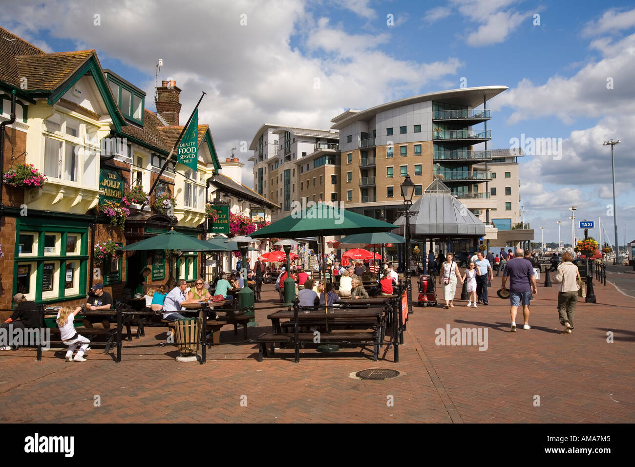 UK Dorset Poole Old Town Quay Jolly Sailor and Lord Nelson seafront public houses - Stock Image