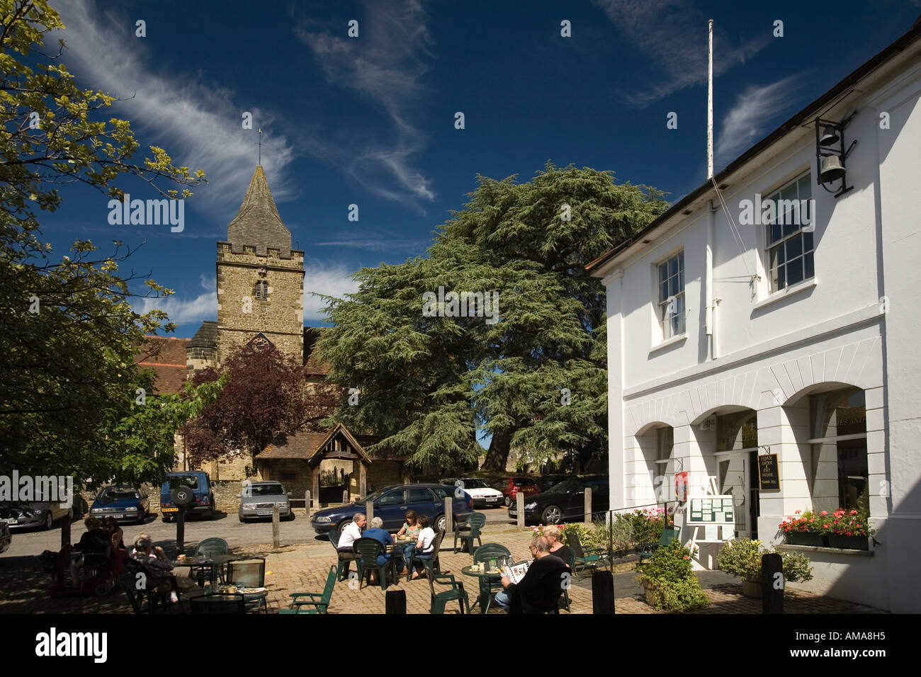 West Sussex South Downs Midhurst Old Town Hall and Church of Mary Magdelene and St Denys - Stock Image