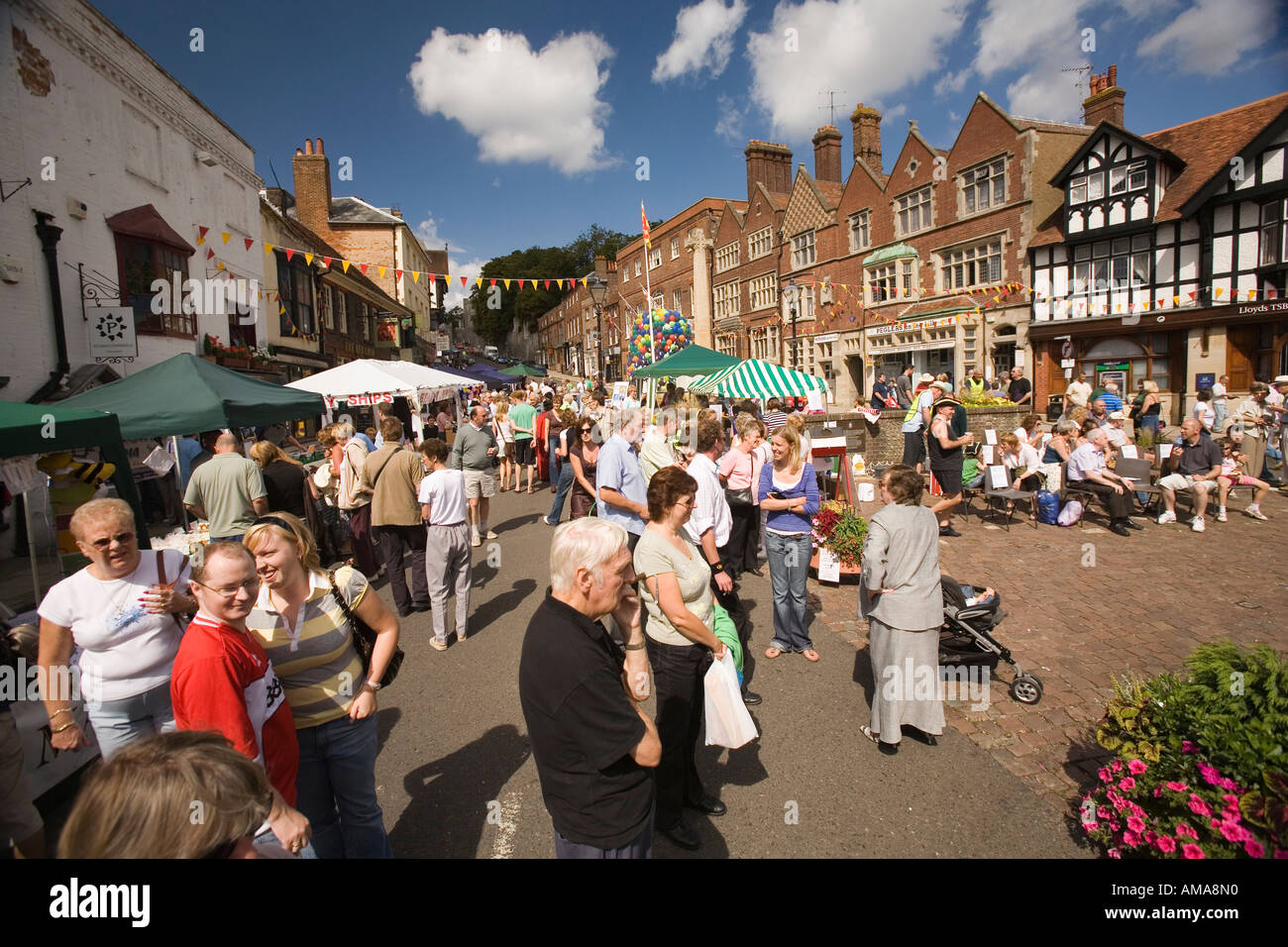 West Sussex South Downs Arundel High Street Town and Country street Fair in progress Stock Photo
