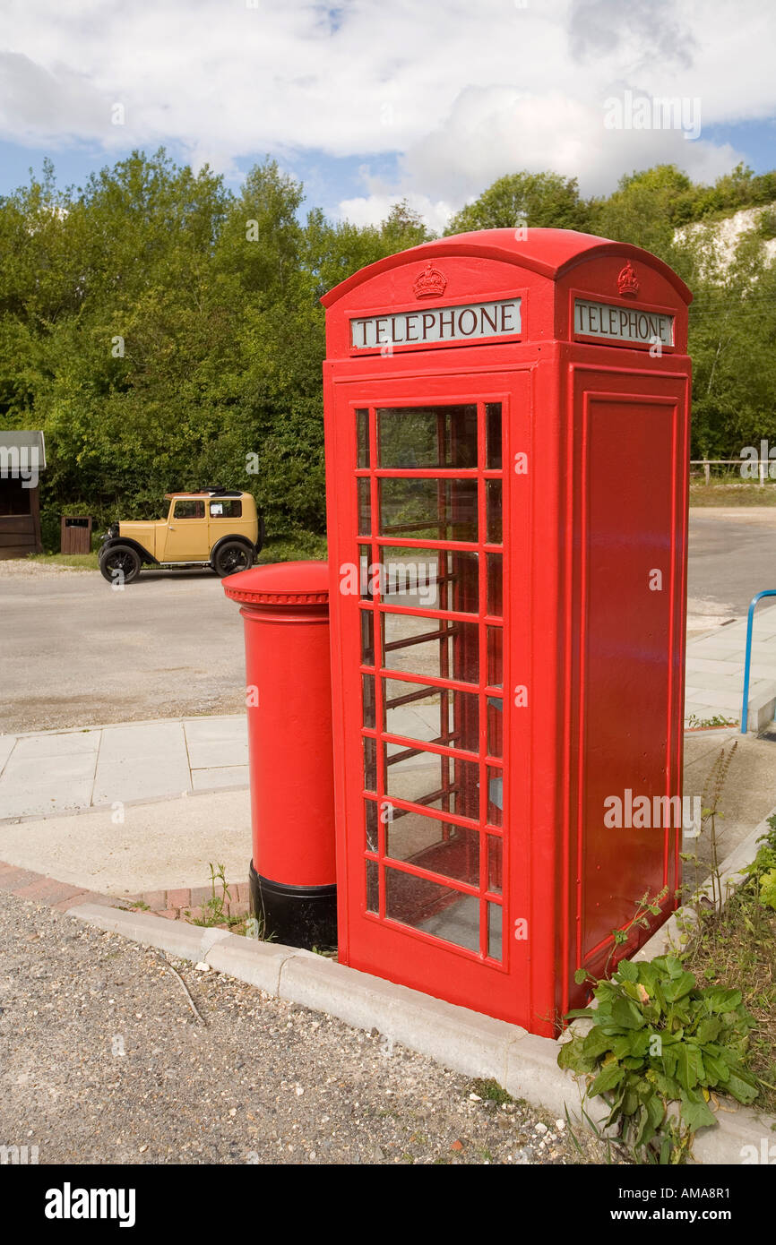 West Sussex Amberley Working Museum K6 phone box and pillar box - Stock Image