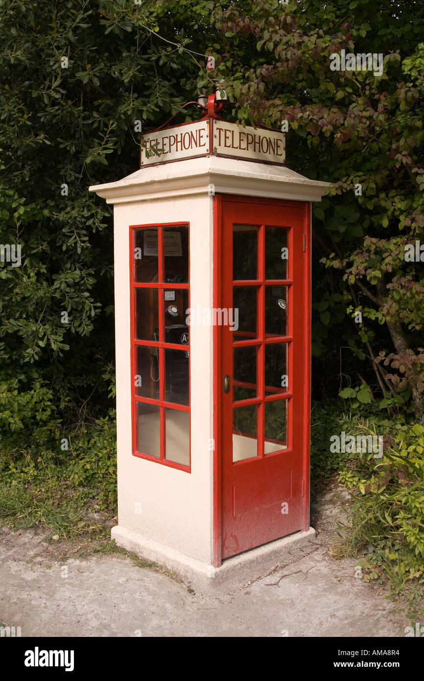 West Sussex Amberley Working Museum K1 first national phone kiosk from 1920s - Stock Image