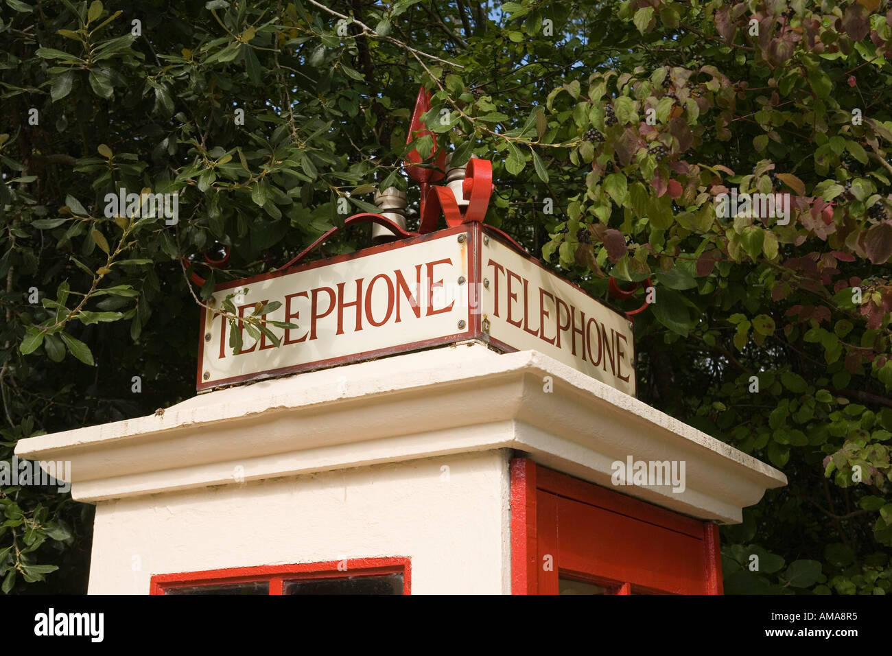 West Sussex Amberley Working Museum sign of K1 first national phone kiosk from 1920s - Stock Image