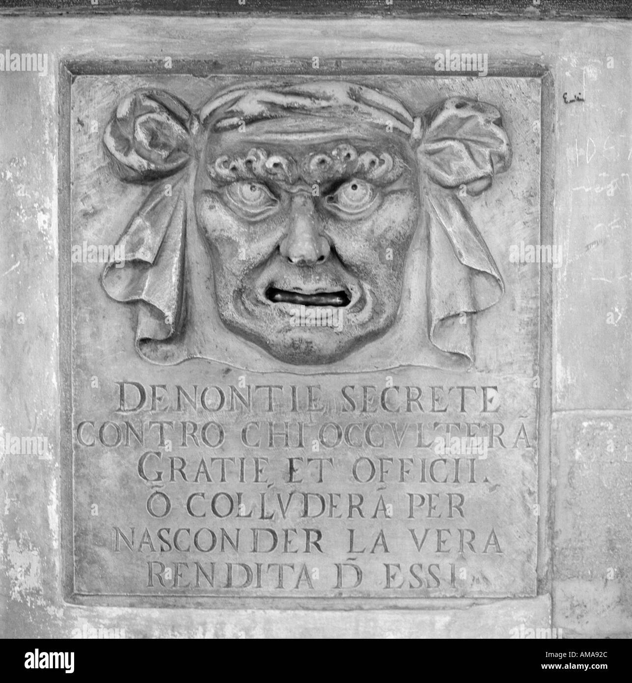 Sinister device for people to secretly denounce corrupt officials collecting bribes at the Doge s Palace Venice Italy Stock Photo