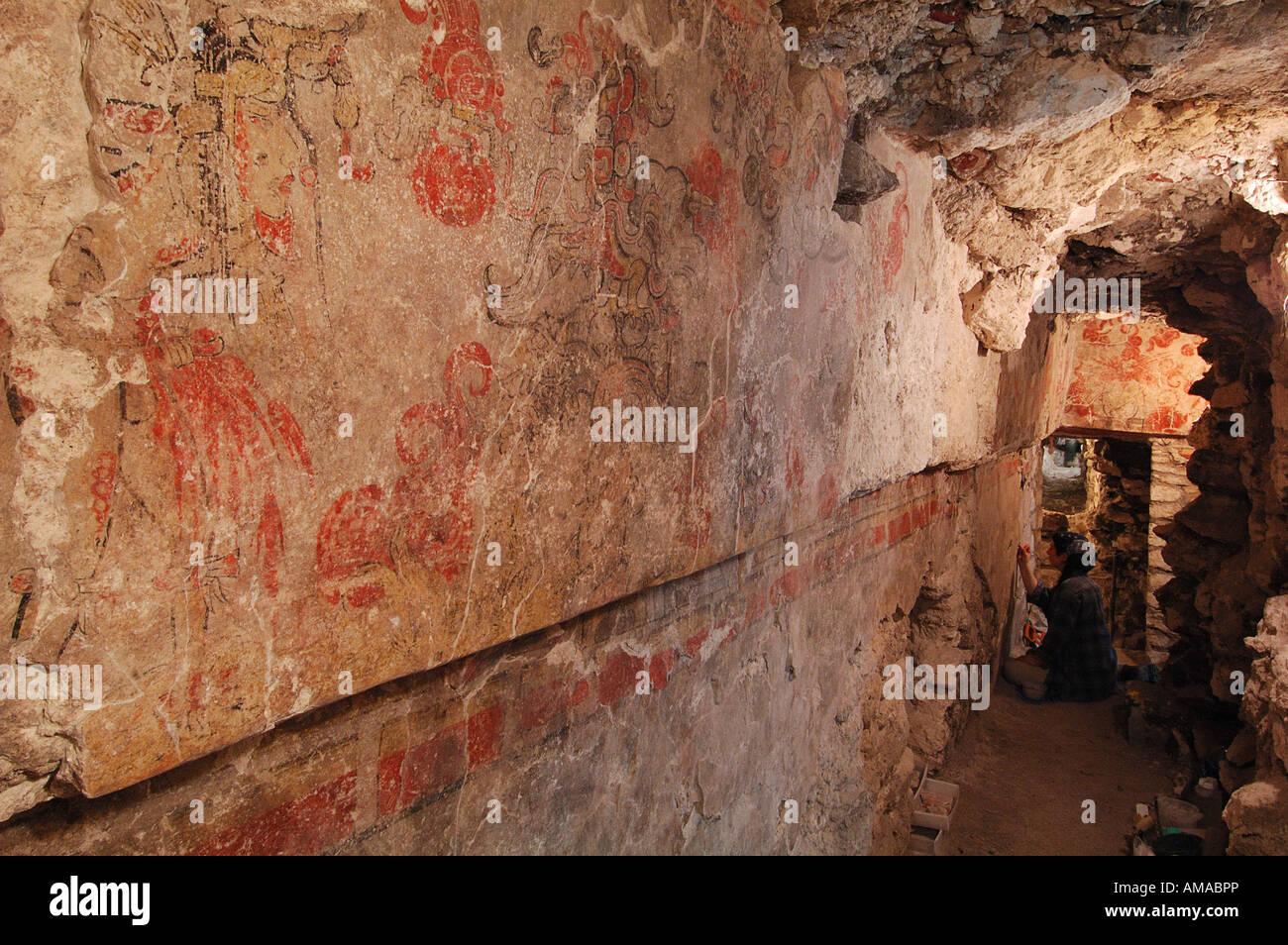 Maya, Maya Murals, San Bartolo, Guatemala, Dr. Bill Saturno - Stock Image