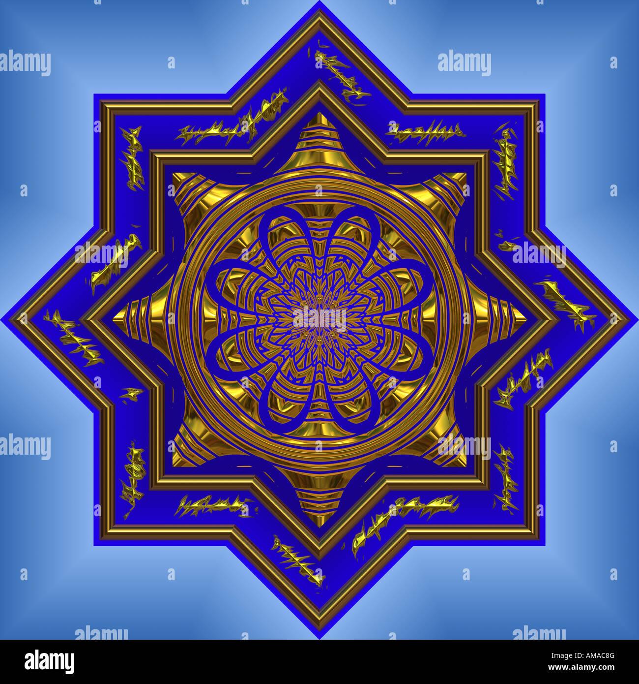a big bright beautiful blue mandala with golden design - Stock Image