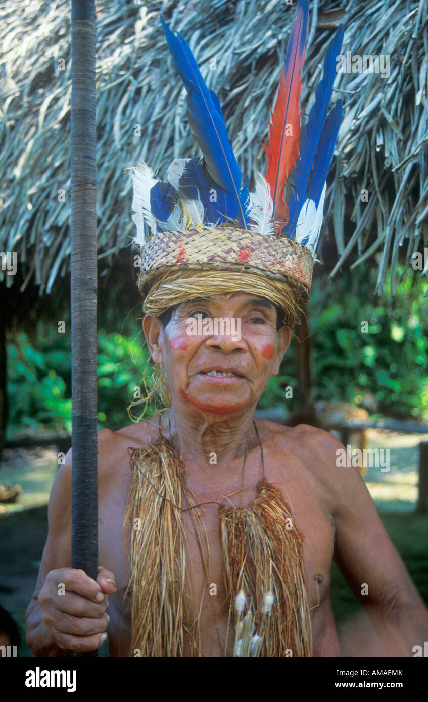 The chief of an Indian Yagua Tribe living near Iquitos posing for the camera - Stock Image