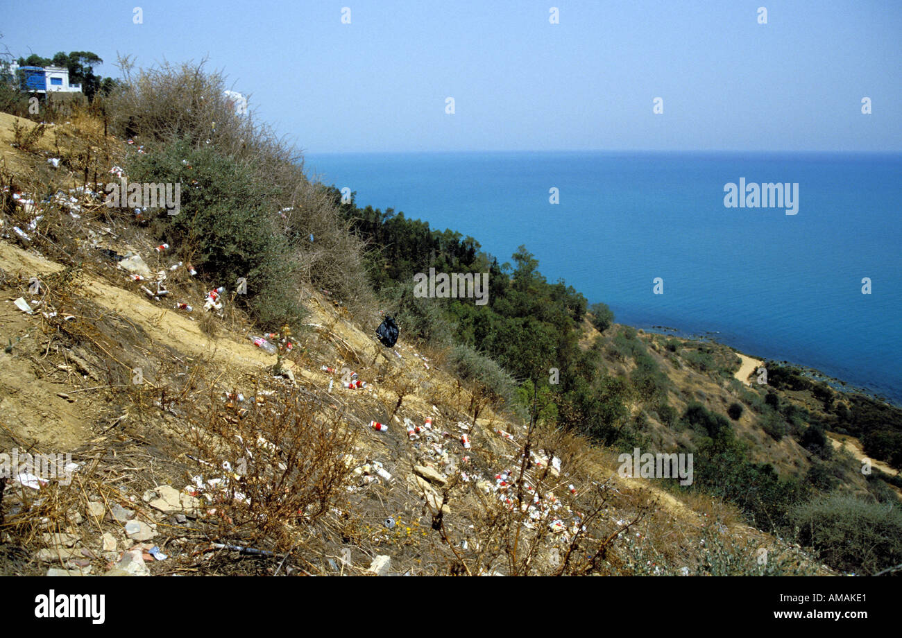 Tunisia Tunis Sidi Bou Said hillside overlooking the Mediterranean Sea covered in litter - Stock Image
