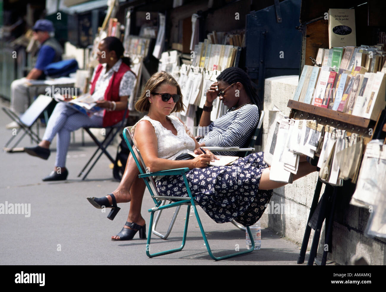 Book sellers along the Seine in Paris - Stock Image