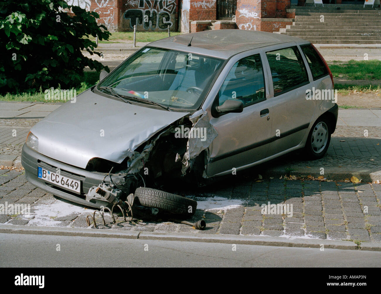 Car after an accident - Stock Image