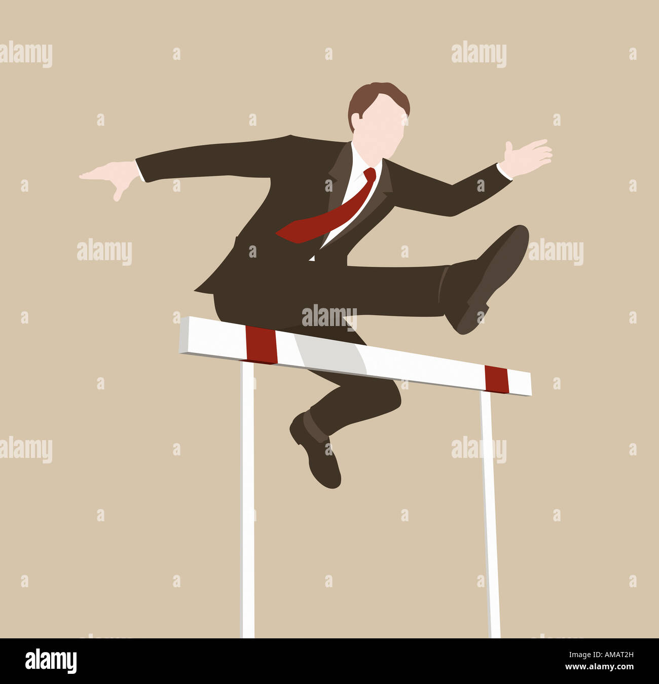 A Businessman Jumping Over Hurdle
