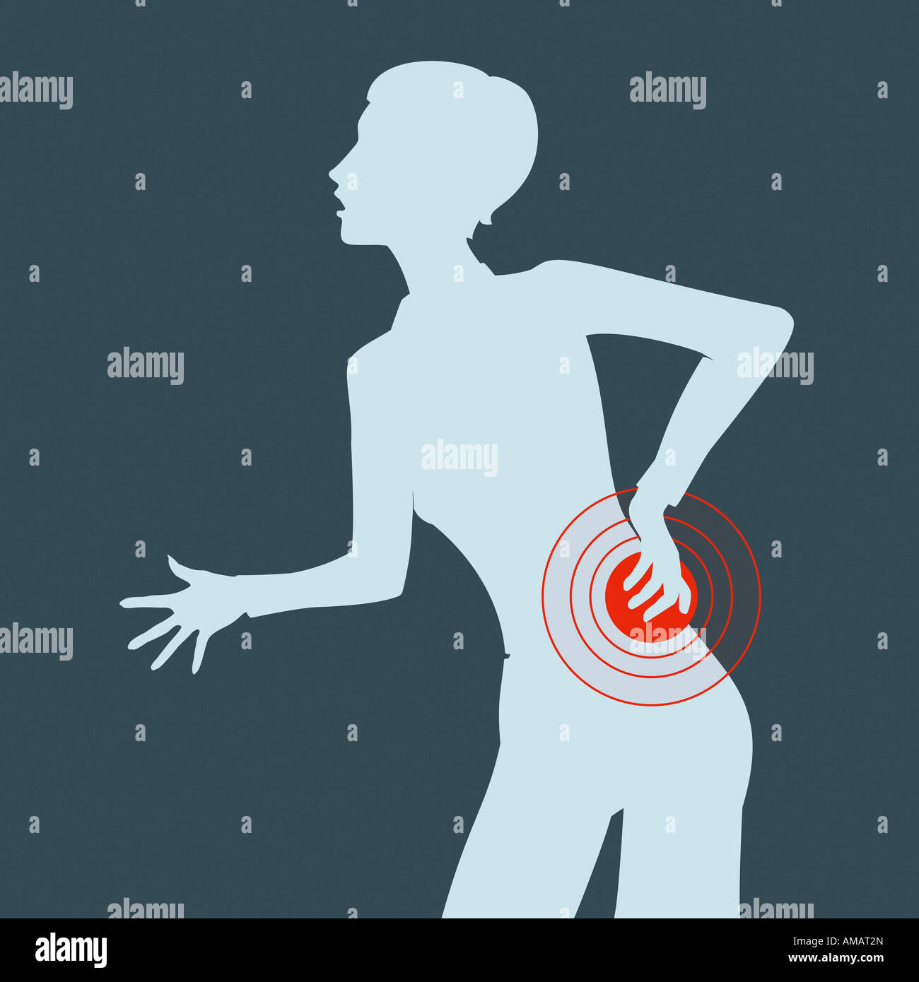 A woman with back pain - Stock Image