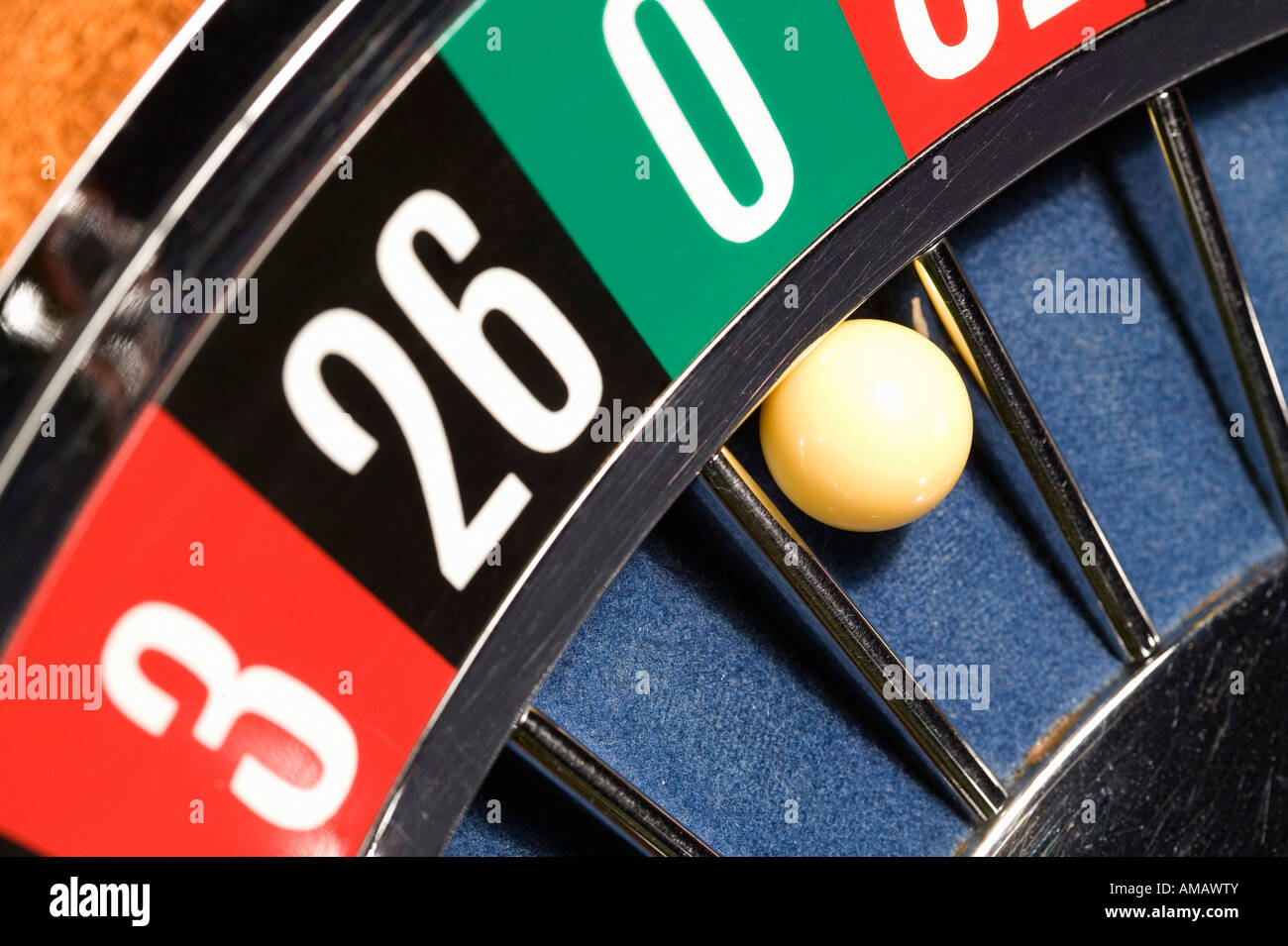 Roulette wheel close up - Stock Image