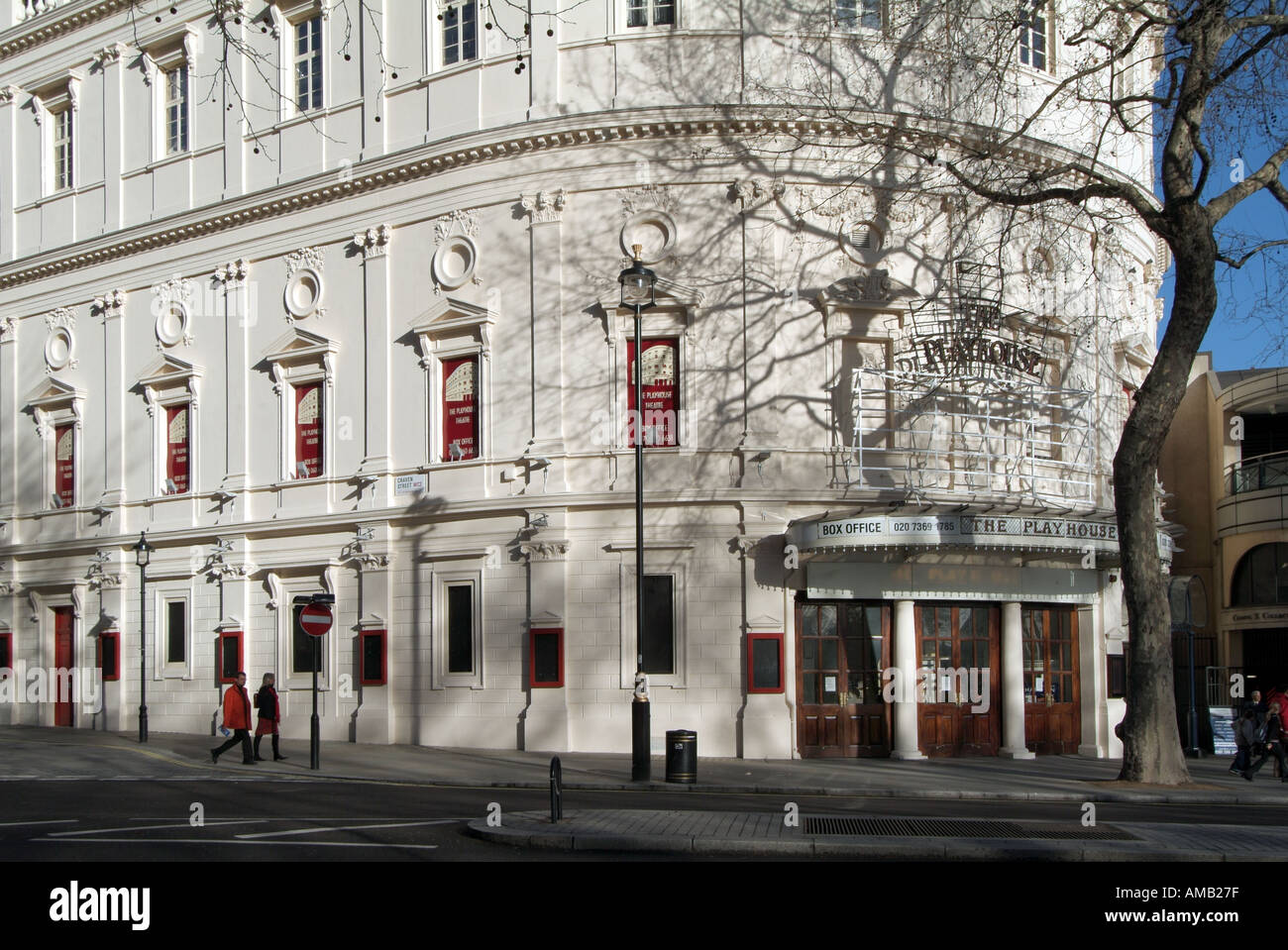 London The Playhouse Theatre Northumberland Avenue shown between productions with no advertising banners - Stock Image