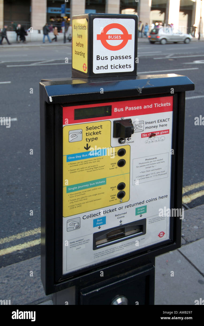 London pavement mounted pre payment machine to obtain ticket to travel on bus prior to boarding - Stock Image
