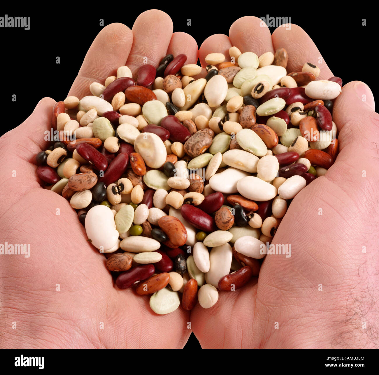 HANDFUL OF MIXED BEANS - Stock Image