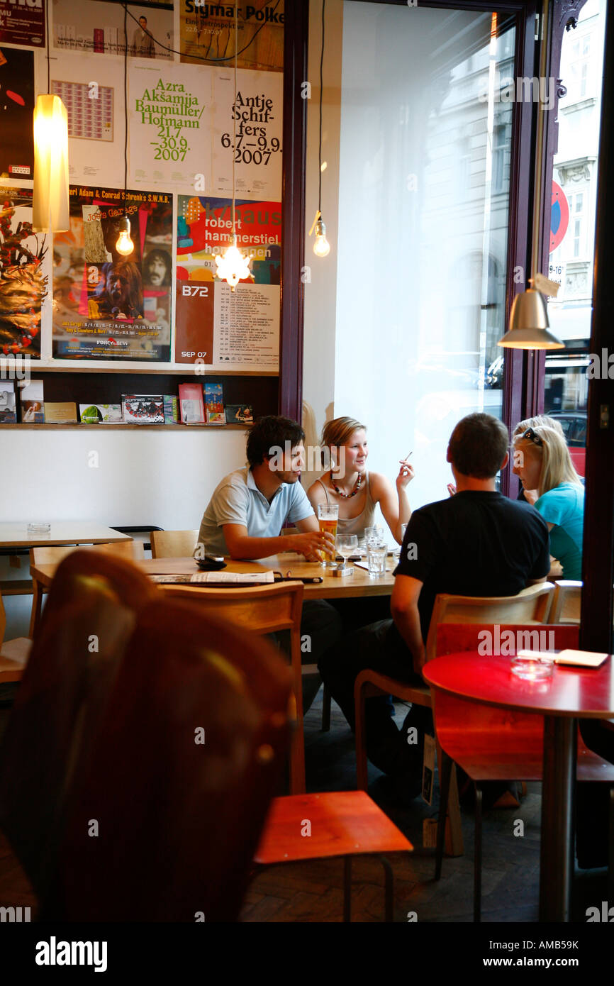 aug 2008 people sitting at the trendy das mobel cafe vienna austria stock image