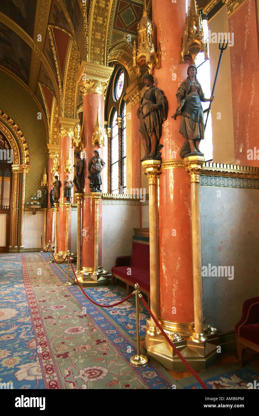 Assembly Chamber, Hungarian parliament building, Budapest, Hungary - Stock Image