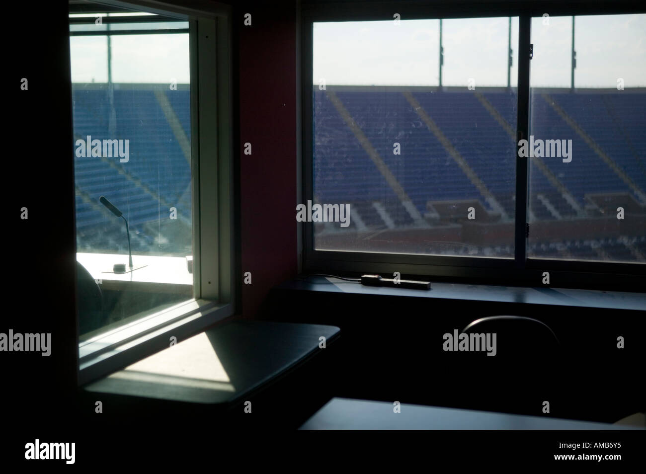 Inside An Empty Press Commentary Box Overlooking The Arthur Ash Tennis  Court At Flushing Meadow New York USA August 2005