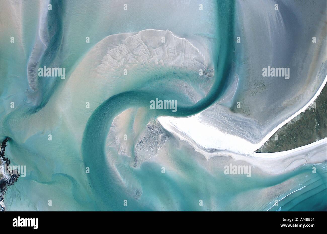 Luskentyre Outer Hebrides aerial views unspoiled uk coastline - Stock Image