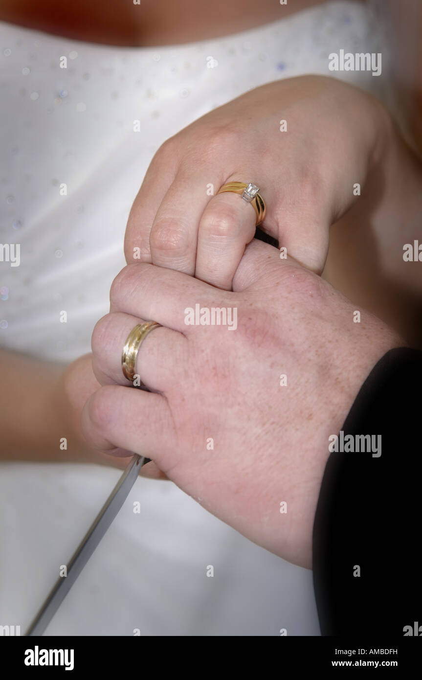 Close up of hands and wedding rings of newly weds cutting wedding ...
