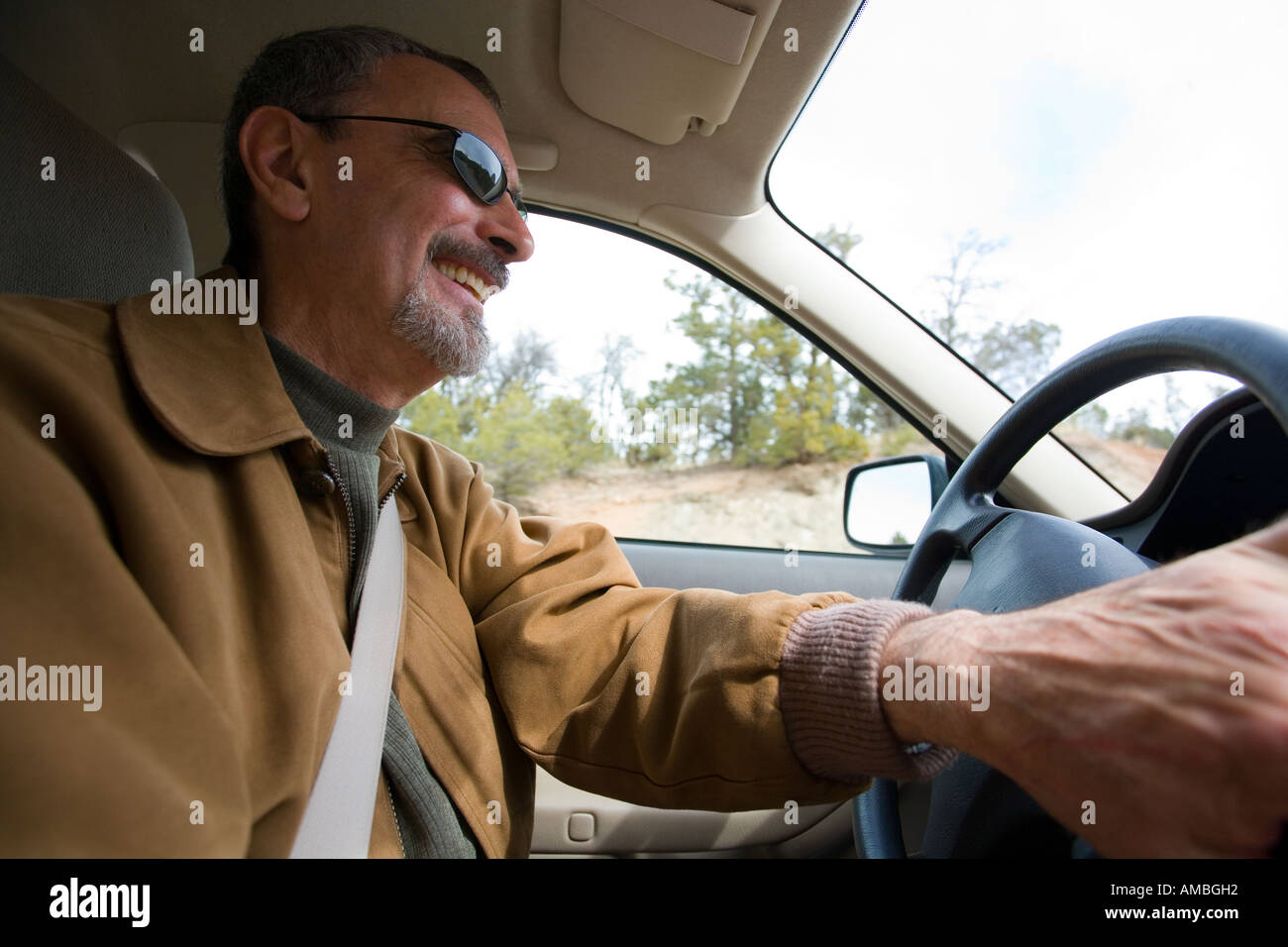 Superb Close Up Of 50 Year Old Man Driving His Car
