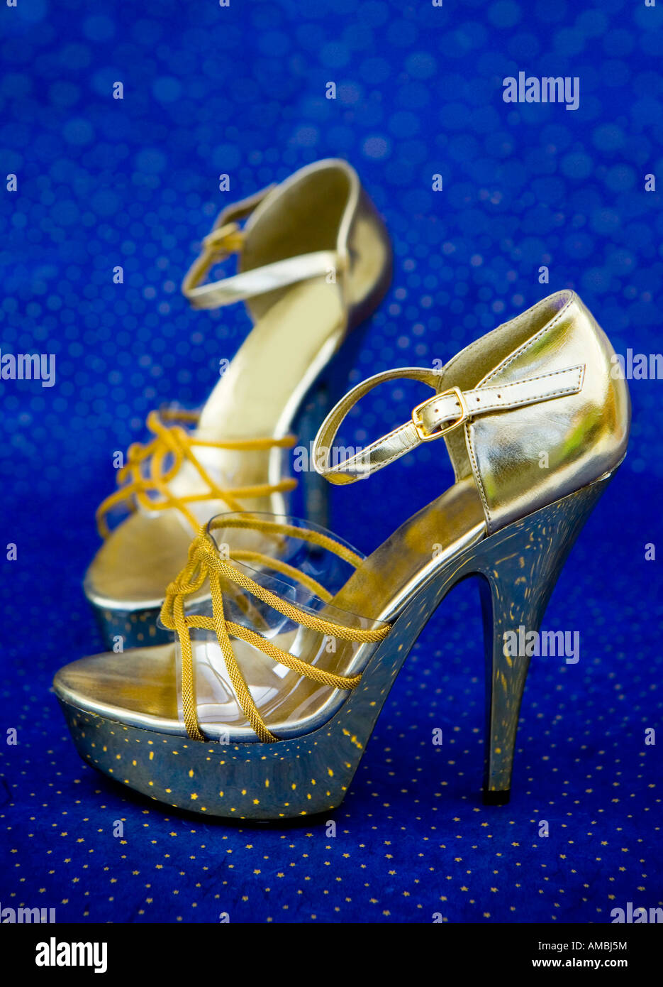 Retro gold high heels platform shoes - Stock Image
