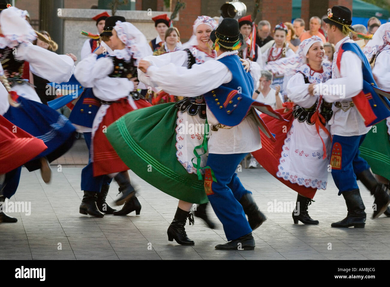 Traditional folk dancing troupe performing Polish Festival Clinton Square Syracuse New York - Stock Image