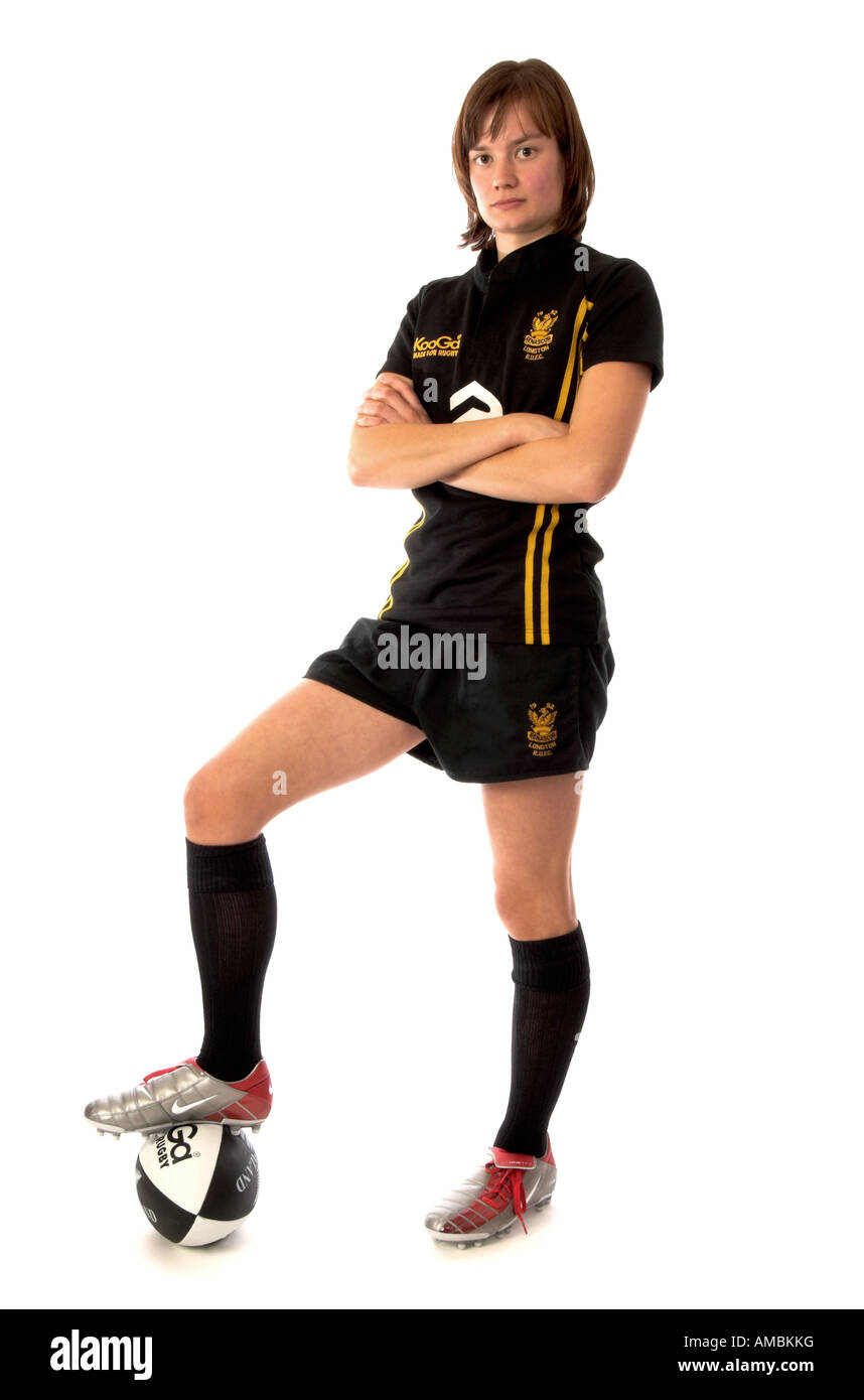 Young woman Rugby player - Stock Image