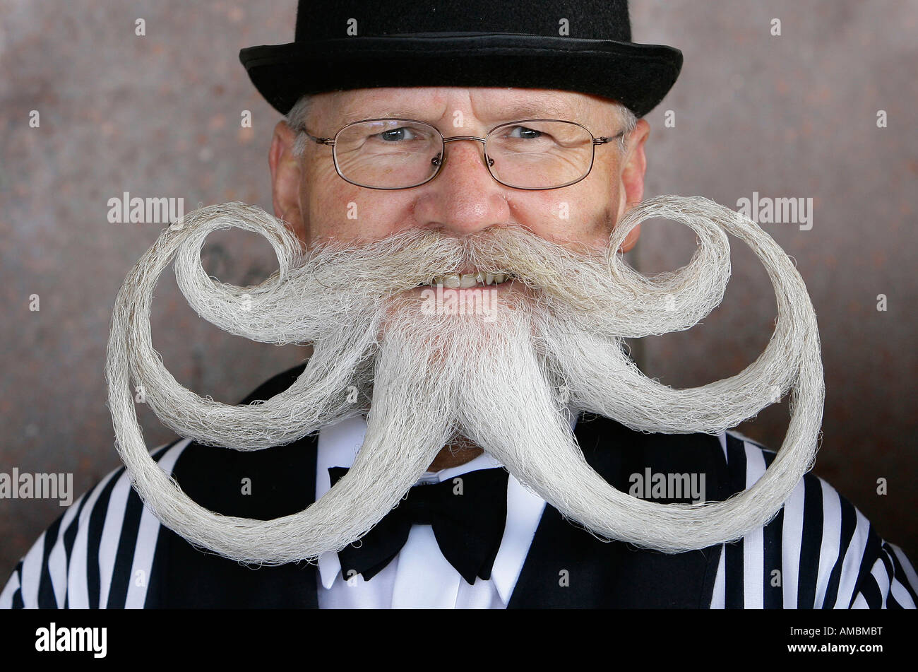 A competetitor at the world Beard and Moustache Championships in Brighton England Picture by James Boardman October - Stock Image