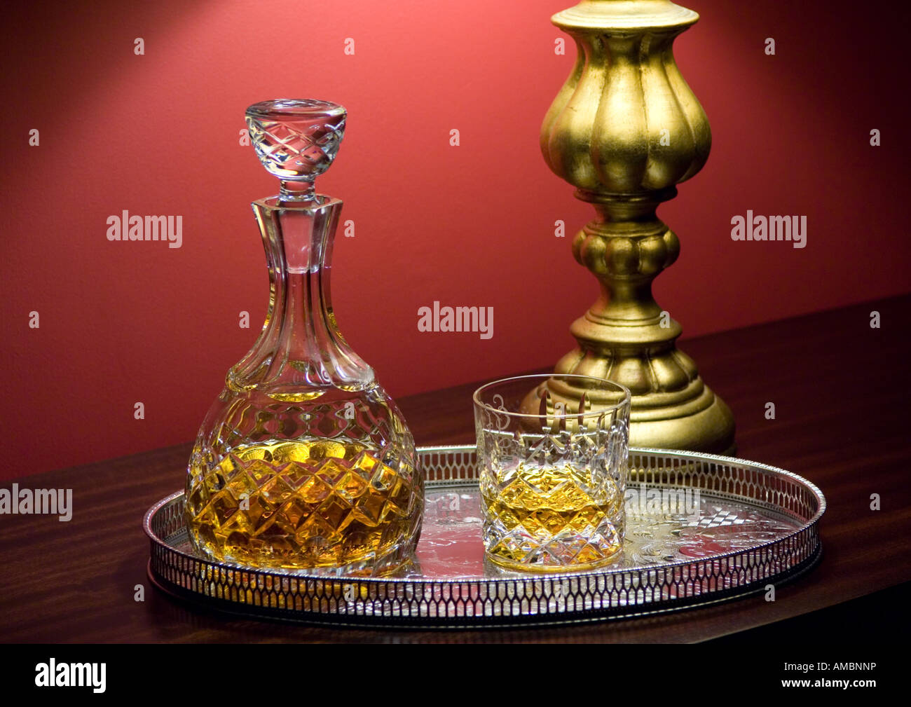 Whiskey, Decanter And Glass On A Silver Tray With Table Lamp