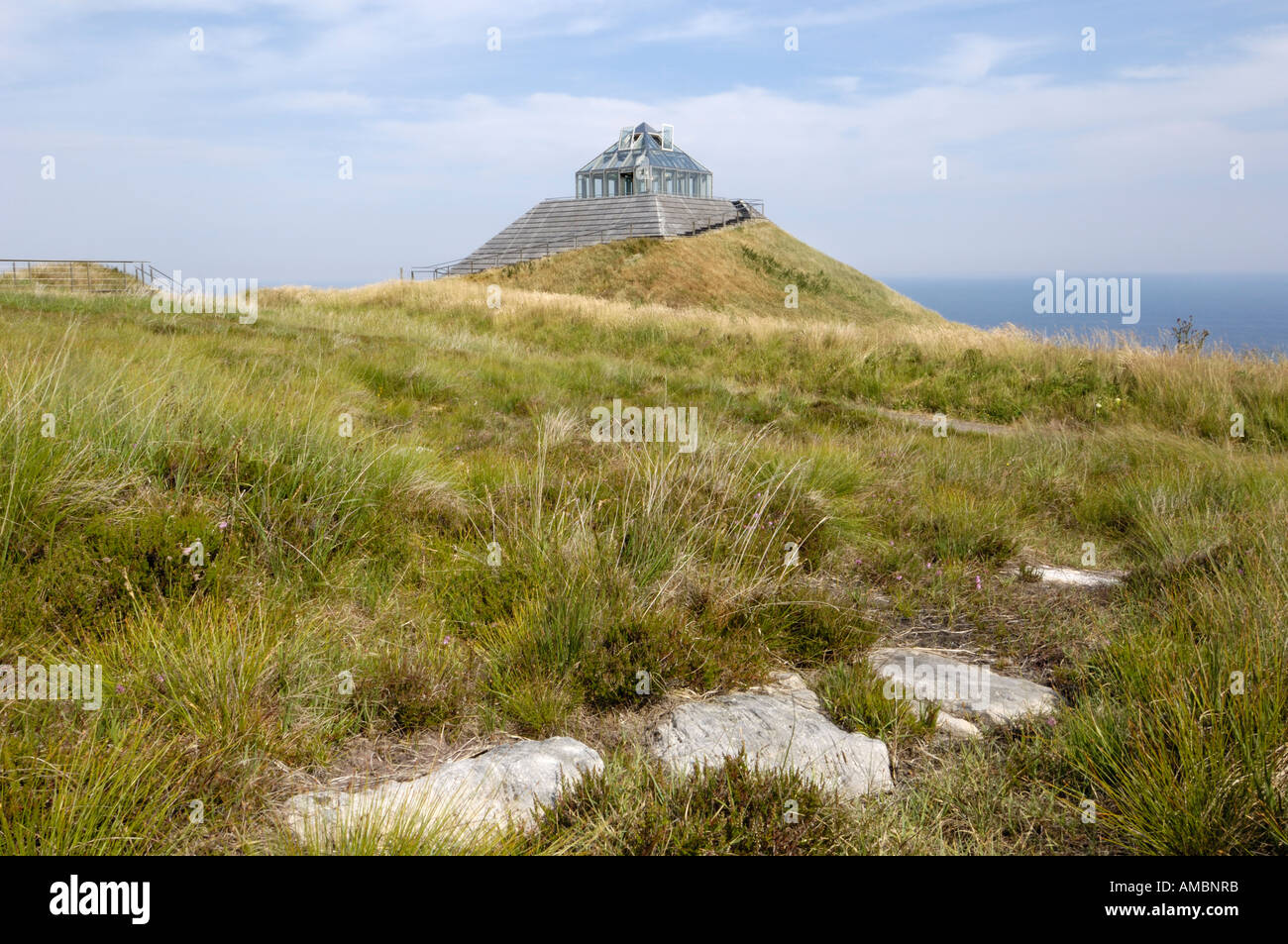 Exhibition hall and viewing platform at Ceide Fields neolithic site, near Ballycastle, County Mayo, Ireland - Stock Image