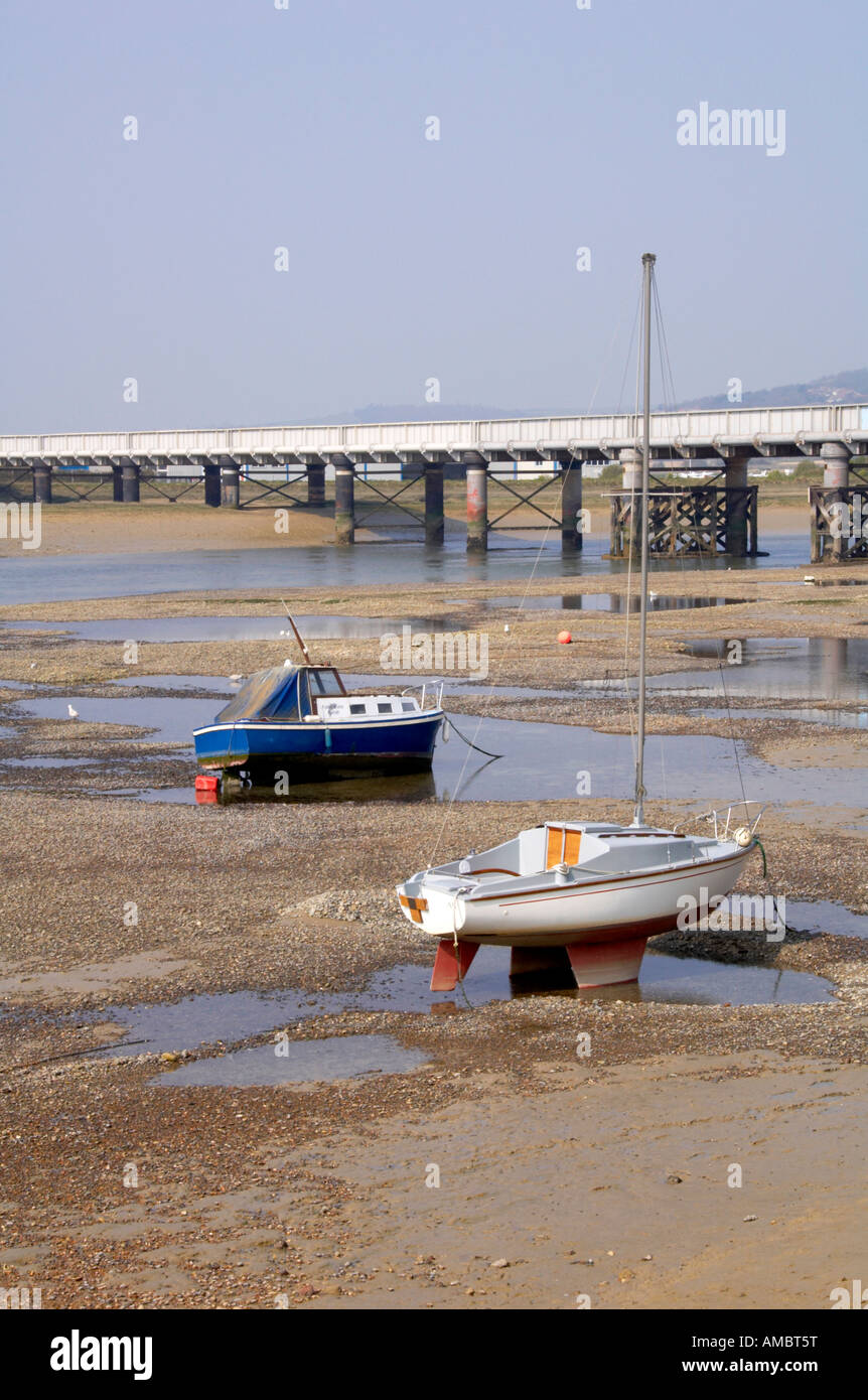 boats on the river adur Stock Photo