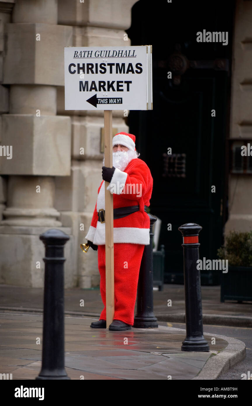 Bath Guildhall Christmas market. A father Christmas rather damp and sad looking in the cold. Picture by Jim Holden. - Stock Image