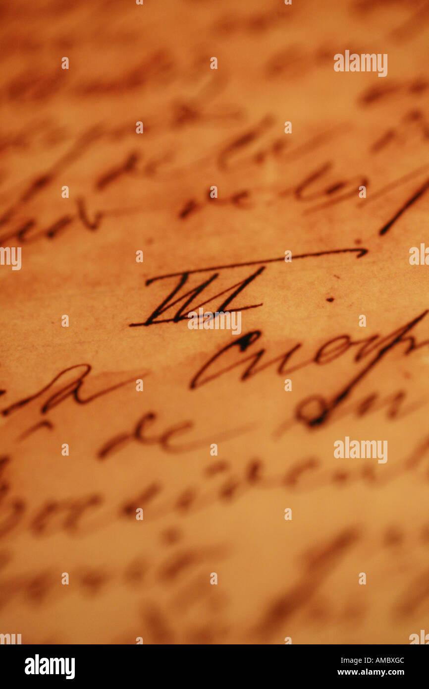 Havana Cuba old handwriting letters from José Martí in the museo at the plaza de la revolución Havana - Stock Image