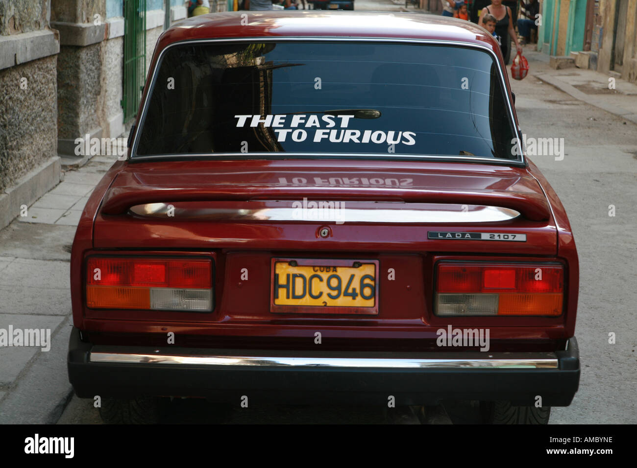 Havana Cuba a Lada the fast to furious in the street - Stock Image