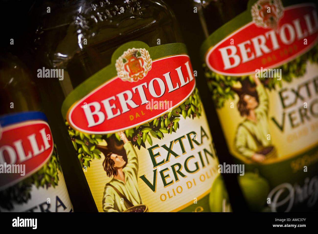 Bertolli olive oil bottles Bertolli is a Unilever brand - Stock Image