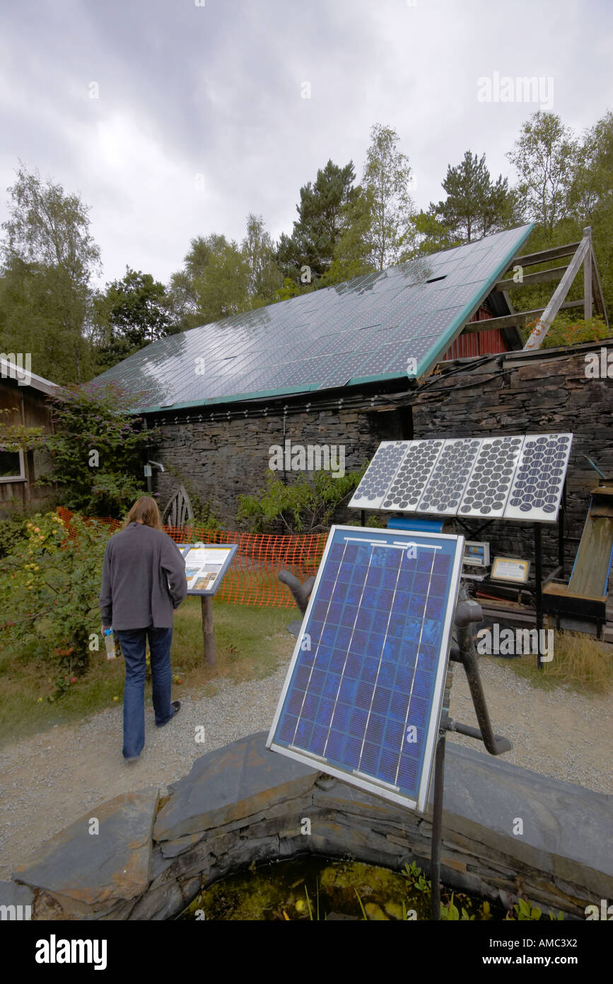 solar panels at the Centre for Alternative Technology Machynlleth Wales - Stock Image